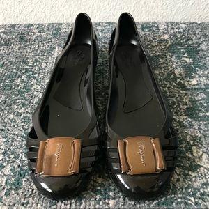 Salvatore Ferragamo Jelly Flats Black Size 10